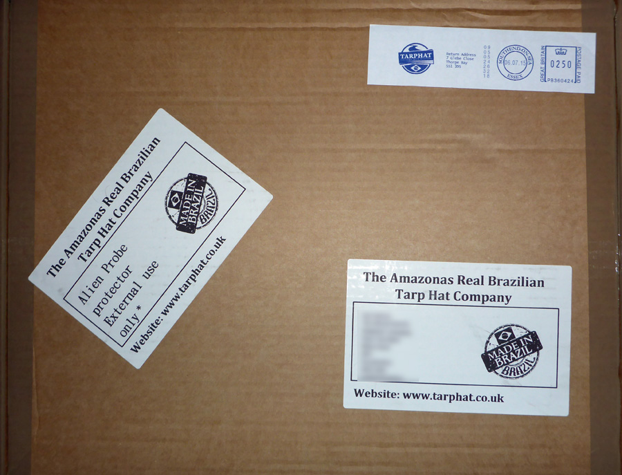 A proper old-fashioned parcel with labels, none of your gray plasti mailing bag nonsense!