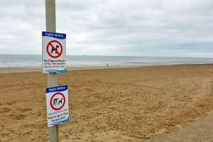 Dogs are not allowed on the beach during the months of May, June, July, August and September upon penatly of £1,000, although I do wonder how many dogs would be able to pay such a Draconian fine without some assistance from their humans.