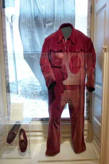 Mr Churchill's onesie, in pinkish red this time, not the dark bottle green of the example in the British Museum or wherever it was.