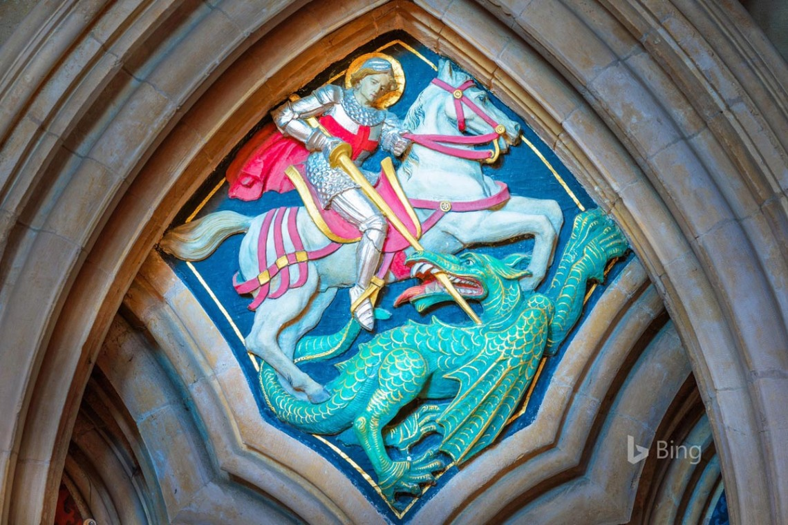 Painted relief of St George and the Dragon at Lincoln Cathedral